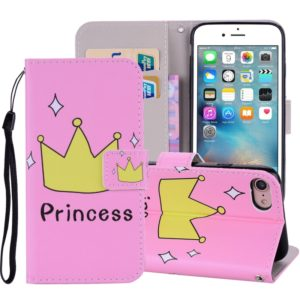 Crown Pattern Colored Drawing Horizontal Flip Leather Case For iPhone SE 2020 & 8 & 7, with Holder & Card Slots & Wallet & Lanyard