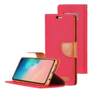 GOOSPERY CANVAS DIARY Canvas Texture Horizontal Flip PU Leather Case for Galaxy S10, with Holder & Card Slots & Wallet (Red) (GOOSPERY)