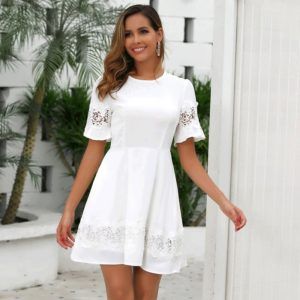 Cutout Stitching Lace High Waist Dress (Color:White Size:S)