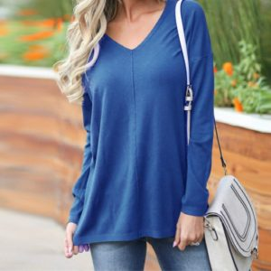 Casual Loose V-neck Solid Color Long-sleeved T-shirt, Size: XXXL( Royal Blue )