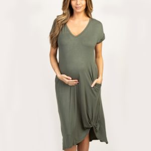 Short Sleeve Maternity Dress (Color:Army Green Size:XXL)