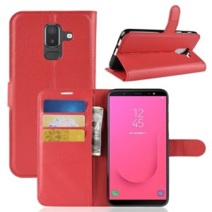 Litchi Texture Horizontal Flip Leather Case for Galaxy J8 (2018) (EU Version), with Wallet & Holder & Card Slots(Red)
