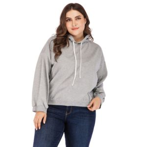 Plus Size Women Solid Color Round Neck Long Sleeve Sweatshirt (Color:Grey Size:M)