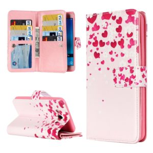 For Galaxy J5 (2016) / J510 Love Flower Pattern Horizontal Flip Leather Case with 9 Card Slots & Wallet & Holder