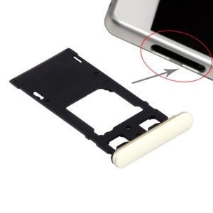 SIM Card Tray + Micro SD / SIM Card Tray + Card Slot Port Dust Plug for Sony Xperia X (Dual SIM Version) (Lime Gold)
