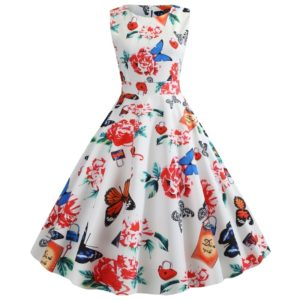 Retro Style Print Slim Big Swing Dress (Color:White Size:S)