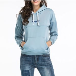 Hooded Long Sleeve Casual Loose Sweatshirt (Color:Blue Size:L)