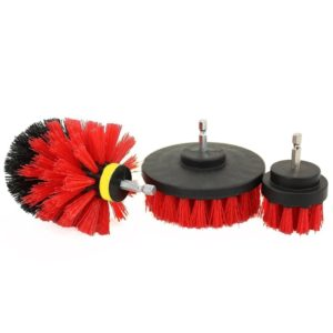 3 PCS Bathroom Kitchen Cleaning Brushes Kit for Electric Drill(Red)