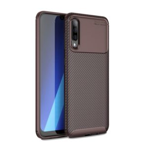 For Galaxy A70s Carbon Fiber Texture Shockproof TPU Case(Brown)