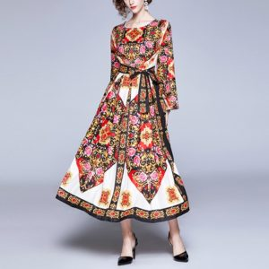 Printed Long-sleeved Lace Large Swing Waist Skirt Dress (Color:Red Size:XL)