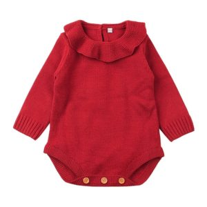 Winter Newborn Babies Knitting Long Sleeve Jumpsuit Romper, Size:90cm(Red)
