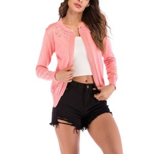 Fashion Cardigan Solid Color Knit Sweater (Color:Pink Size:M)