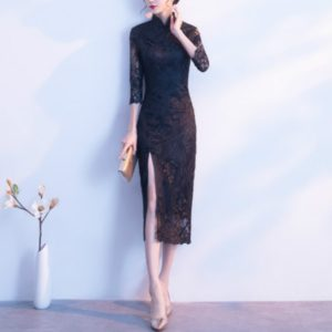 Dignified Atmosphere Improved Cheongsam Dress, Size:XL(Black)