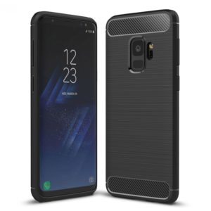 For Galaxy S9 Brushed Carbon Fiber Texture Soft TPU Anti-skip Protective Cover Back Case(Black)