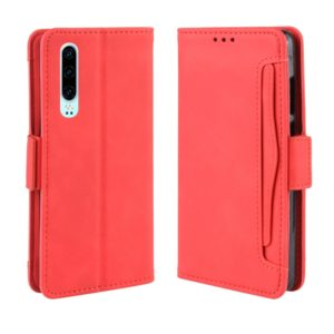 Wallet Style Skin Feel Calf Pattern Leather Case For Huawei P30,with Separate Card Slot(Red)