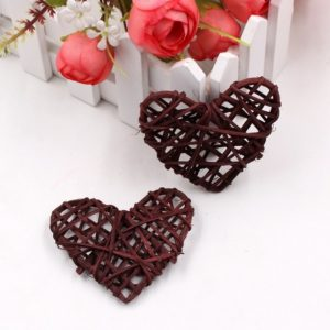5 PCS 6cm Artificial Straw Ball DIY Decoration Rattan Heart Christmas Decor Home Ornament(Brown)