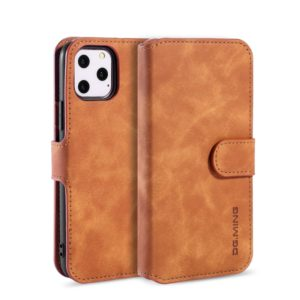 DG.MING Retro Oil Side Horizontal Flip Case with Holder & Card Slots & Wallet for iPhone 11 Pro(Brown) (DG.MING)