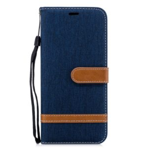 Color Matching Denim Texture Leather Case for Galaxy A6+, with Holder & Card Slots & Wallet & Lanyard(Dark blue)