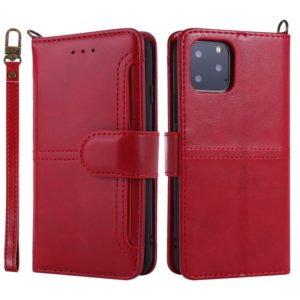 For iPhone 11 Pro Max Lambskin Texture Horizontal Flip PU Leather Case with Holder & Card Slots & Frame & Lanyard(Red)