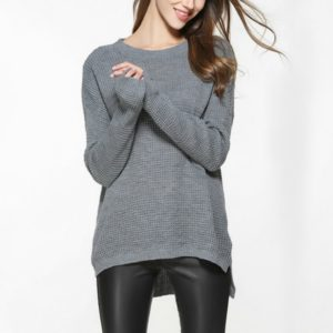 Loose Turtleneck Thin Sweater, Size: XL(Grey)
