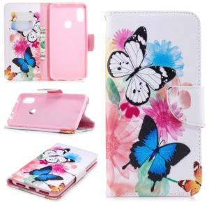 Colored Drawing Pattern Horizontal Flip Leather Case for Xiaomi Redmi Note6&Note6Pro,with Holder & Card Slots & Wallet(Two Butterflies)