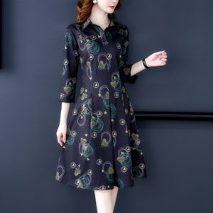 Slim-fit Sleeveless Floral Shirt Dress, Size:XL(As Show)