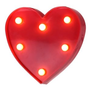 Creative Heart Shape Warm White LED Decoration Light, 2 x AA Batteries Powered Party Festival Table Wedding Lamp Night Light(Red)
