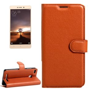 For Xiaomi Redmi 3 Pro Litchi Texture Horizontal Flip Leather Case with Magnetic Buckle & Holder & Card Slots & Wallet(Brown)