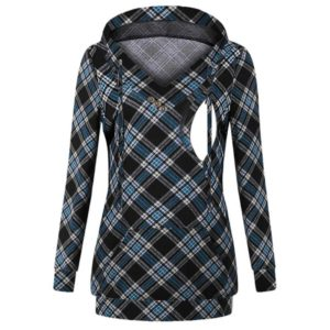 Maternity Womens Nursing Hoodies Sweatshirt Stripe Pregnant Clothes Fashion Lattice Long Sleeve Hoodies Breastfeeding Tops, Size:XL(Blue lattice)