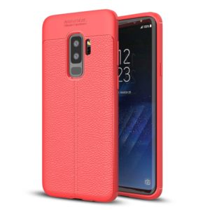 For Galaxy S9+ Litchi Texture Soft TPU Anti-skip Protective Cover Back Case(Red)
