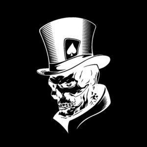 10 PCS Joker Skeleton Skull Playing Cards Poker Monster Hat Shape Vinyl Car Sticker, Size: 11.3x17.6cm(Silver)