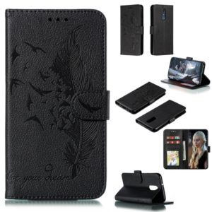Feather Pattern Litchi Texture Horizontal Flip Leather Case with Wallet & Holder & Card Slots For LG Stylo 4(Black)