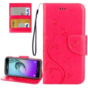For Galaxy A5 (2017) / A520 Butterflies Love Flowers Embossing Horizontal Flip Leather Case with Holder & Card Slots & Wallet & Lanyard(Magenta)