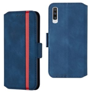 For Galaxy A70s Retro Frosted Oil Side Horizontal Flip Case with Holder & Card Slots(Blue)