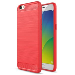 For OPPO R9s Plus Carbon Fiber TPU Brushed Texture Shockproof Protective Back Cover Case(Red)