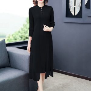 Fold Collar Retro Fake Two Loose Dress (Color:Black Size:One Size)