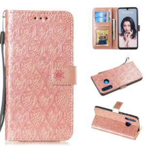 Pressed Printing Rattan Flower Pattern Horizontal Flip PU Leather Case for Huawei P30 Lite / Nova 4e, with Holder & Card Slots & Wallet & Photo Frame (Rose Gold)
