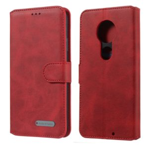 For Motorola Moto G7 / G7 Plus Solid Color Buckle Horizontal Flip Leather Case with Wallet & Holder & Card Slots(Red)
