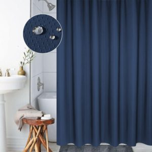 Thickening Waterproof And Mildew Curtain Honeycomb Texture Polyester Cloth Shower Curtain Bathroom Curtains,Size:150*200cm(Dark Blue)