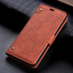 Copper Buckle Retro Crazy Horse Texture Horizontal Flip Leather Case for Galaxy A8+ (2018), with Holder & Card Slots & Wallet(Brown)
