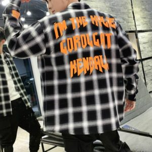 Spring and Autumn Men Vintage Plaid Long Sleeve Loose Print Tooling Shirt, Size: XXL(Black)