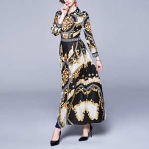 Fashion Printed Long-sleeved Dress (Color:Black Yellow Size:M)