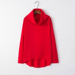 Irregular High Collar Sweater (Color:Red Size:L)