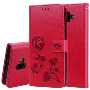Rose Embossed Horizontal Flip PU Leather Case for Samsung Galaxy J6 Plus, with Holder & Card Slots & Wallet (Red)