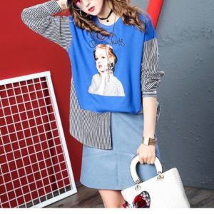 Fashion Loose Casual Portrait Sweatshirt (Color:Blue Size:One Size)