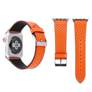 For Apple Watch Series 3 & 2 & 1 38mm Simple Fashion Genuine Leather Hole Pattern Watch Strap (Orange)