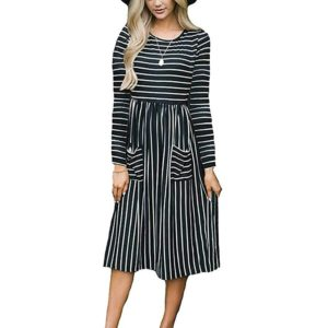 Round Neck Striped Double Pocket Long-sleeved Dress, Size: L(Black)