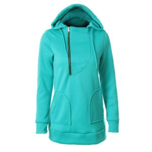 Women Warm Sweater Zipper Cap With Long Sleeves Solid Color Sweater, Size: XXL(Green)