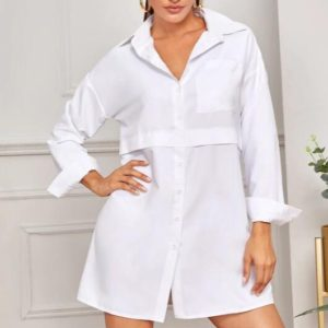 Fashion Simple Shirt Temperament Single-breasted Women Dress (Color:White Size:L)