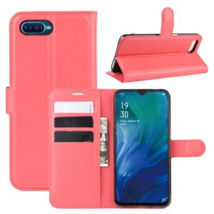 For Oppo Reno A Litchi Texture Horizontal Flip Leather Case with Wallet & Holder & Card Slots(Red)